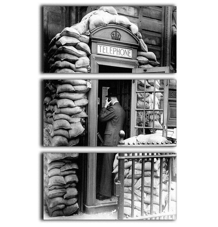 Phone box with sandbags 3 Split Panel Canvas Print