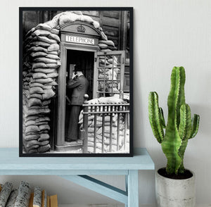 Phone box with sandbags Framed Print - Canvas Art Rocks - 2