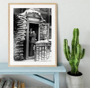 Phone box with sandbags Framed Print - Canvas Art Rocks - 3