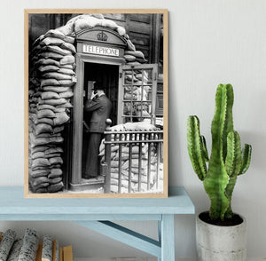 Phone box with sandbags Framed Print - Canvas Art Rocks - 4