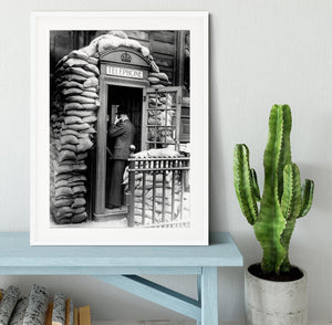 Phone box with sandbags Framed Print - Canvas Art Rocks - 5