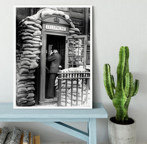 Phone box with sandbags Framed Print - Canvas Art Rocks -6