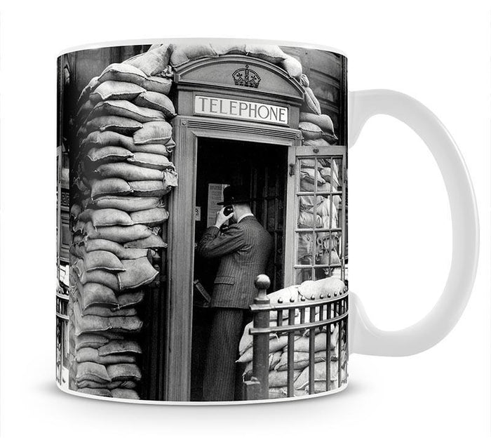 Phone box with sandbags Mug