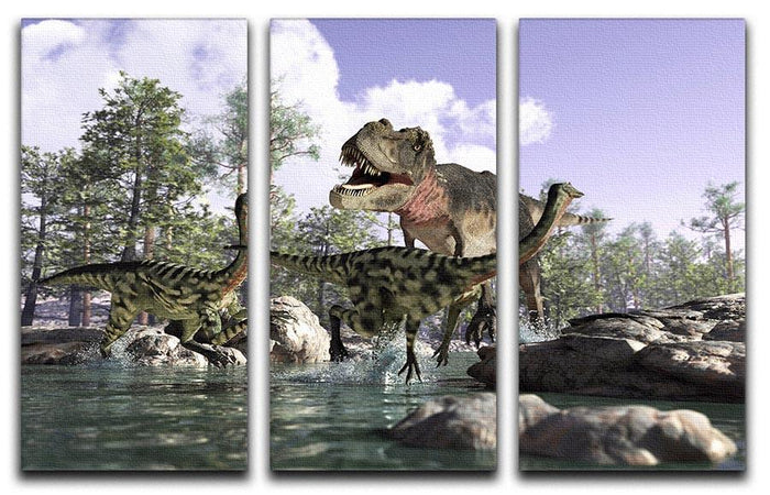 Photorealistic 3 D scene of a Tyrannosaurus Rex 3 Split Panel Canvas Print