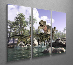 Photorealistic 3 D scene of a Tyrannosaurus Rex 3 Split Panel Canvas Print - Canvas Art Rocks - 2