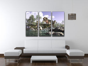Photorealistic 3 D scene of a Tyrannosaurus Rex 3 Split Panel Canvas Print - Canvas Art Rocks - 3
