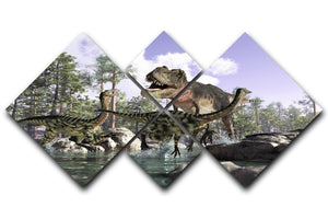 Photorealistic 3 D scene of a Tyrannosaurus Rex 4 Square Multi Panel Canvas  - Canvas Art Rocks - 1