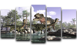 Photorealistic 3 D scene of a Tyrannosaurus Rex 5 Split Panel Canvas  - Canvas Art Rocks - 1