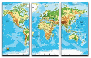 Physical map of the world 3 Split Panel Canvas Print - Canvas Art Rocks - 1