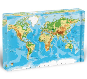 Physical map of the world Acrylic Block - Canvas Art Rocks - 1