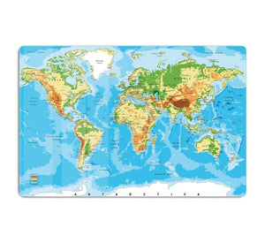 Physical map of the world HD Metal Print