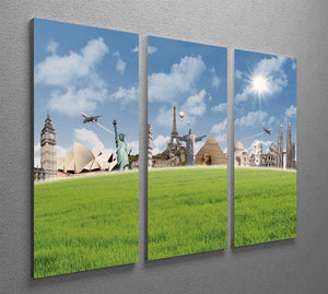 Picture of different landmarks 3 Split Panel Canvas Print - Canvas Art Rocks - 2