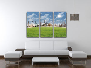 Picture of different landmarks 3 Split Panel Canvas Print - Canvas Art Rocks - 3