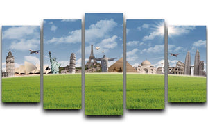 Picture of different landmarks 5 Split Panel Canvas  - Canvas Art Rocks - 1