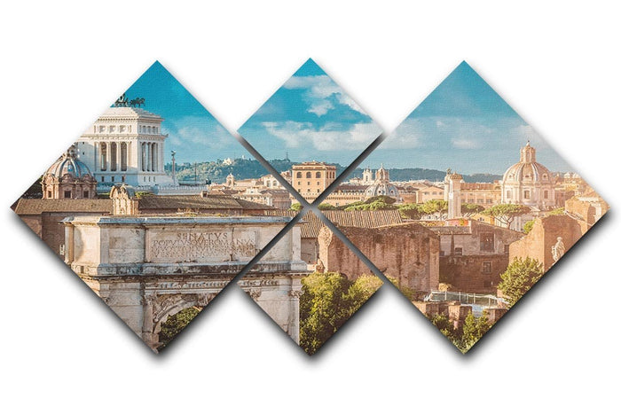 Picturesque View of the Roman Forum 4 Square Multi Panel Canvas