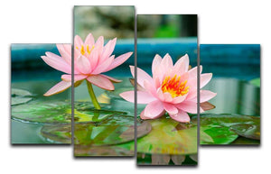 Pink Lotus or water lily in pond 4 Split Panel Canvas  - Canvas Art Rocks - 1