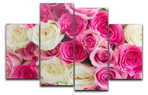 Pink and white fresh rose flowers 4 Split Panel Canvas  - Canvas Art Rocks - 1