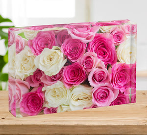 Pink and white fresh rose flowers Acrylic Block - Canvas Art Rocks - 2