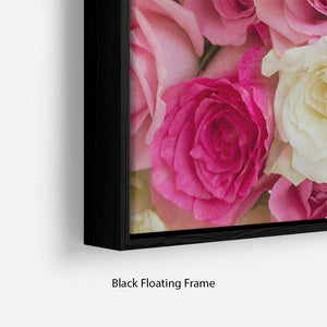 Pink and white fresh rose flowers Floating Frame Canvas