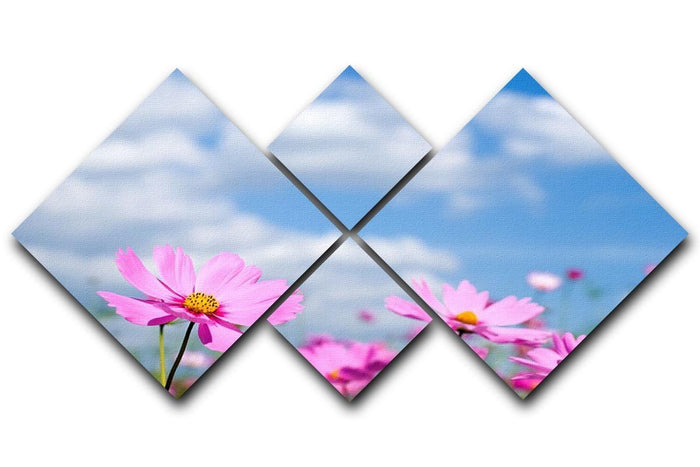 Pink cosmos field and sky 4 Square Multi Panel Canvas