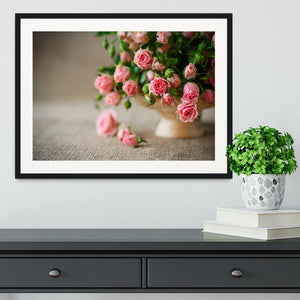 Pink roses on an old table of burlap Framed Print - Canvas Art Rocks - 1