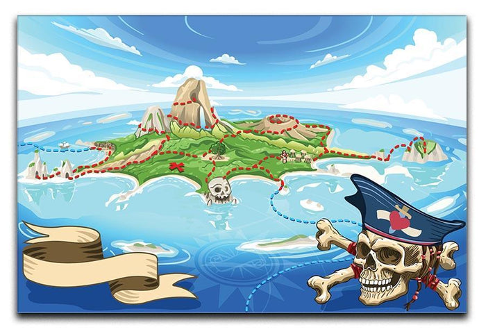 Pirate Cove Island Treasure Map Canvas Print or Poster