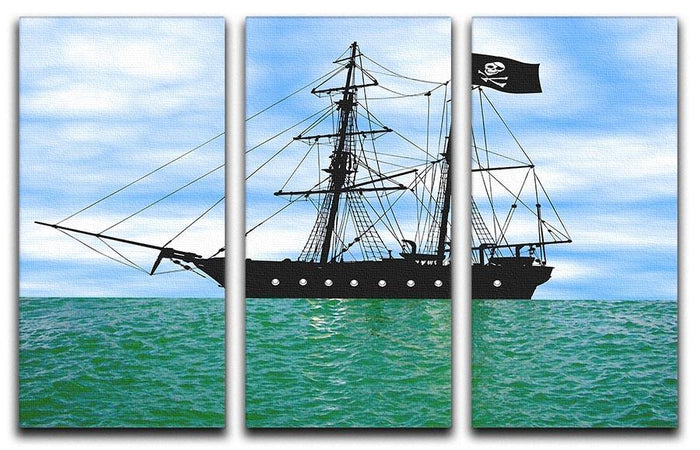 Pirate ship at anchor 3 Split Panel Canvas Print