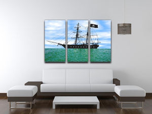 Pirate ship at anchor 3 Split Panel Canvas Print - Canvas Art Rocks - 3