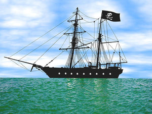 Pirate ship at anchor Wall Mural Wallpaper - Canvas Art Rocks - 1