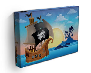 Pirate ship near small island 4 Canvas Print or Poster - Canvas Art Rocks - 3