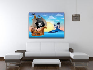 Pirate ship near small island 4 Canvas Print or Poster - Canvas Art Rocks - 4