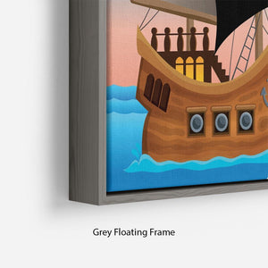 Pirate ship near small island 4 Floating Frame Canvas