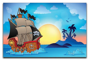 Pirate ship near small island Canvas Print or Poster  - Canvas Art Rocks - 1
