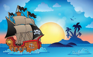 Pirate ship near small island Wall Mural Wallpaper - Canvas Art Rocks - 1