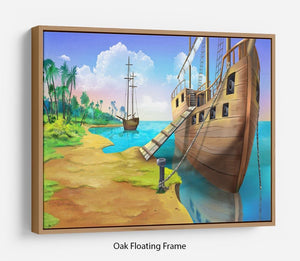 Pirate ship on the shore of the Pirate Island Floating Frame Canvas