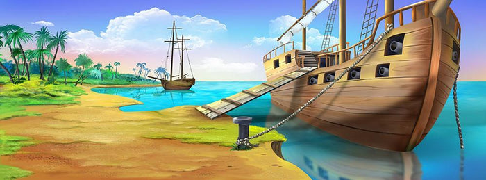Pirate ship on the shore of the Pirate Island Wall Mural Wallpaper