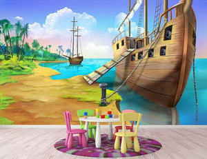 Pirate ship on the shore of the Pirate Island Wall Mural Wallpaper - Canvas Art Rocks - 2