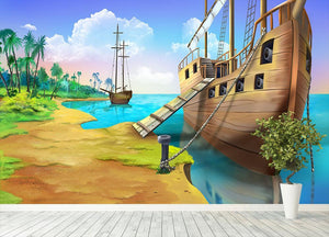 Pirate ship on the shore of the Pirate Island Wall Mural Wallpaper - Canvas Art Rocks - 4