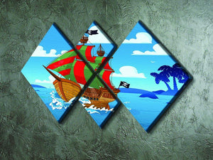 Pirate ship sails the seas 4 Square Multi Panel Canvas - Canvas Art Rocks - 2