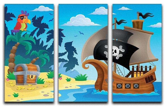 Pirate ship topic image 5 3 Split Panel Canvas Print
