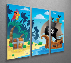 Pirate ship topic image 5 3 Split Panel Canvas Print - Canvas Art Rocks - 2