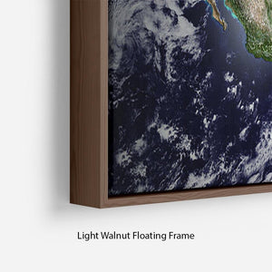 Planet Earth in universe or space Floating Frame Canvas