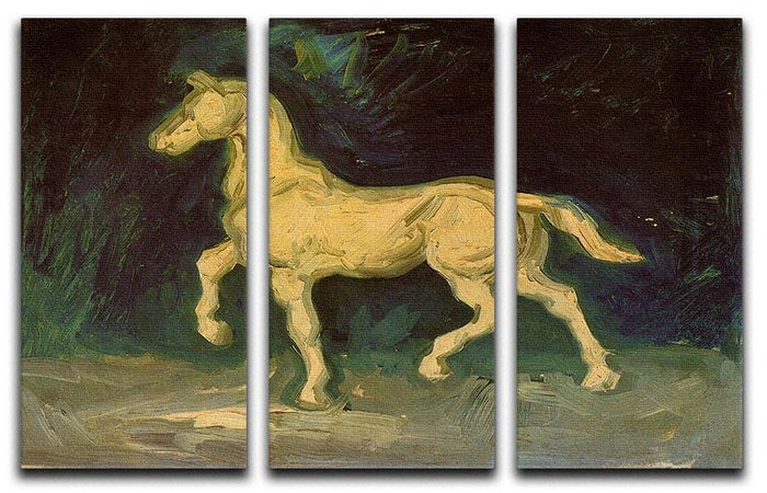 Plaster Statuette of a Horse by Van Gogh 3 Split Panel Canvas Print