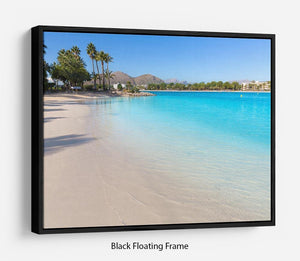 Platja de Alcudia beach Floating Frame Canvas - Canvas Art Rocks - 1