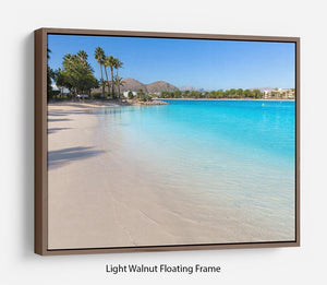 Platja de Alcudia beach Floating Frame Canvas - Canvas Art Rocks 7