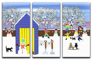 Playing in the snow by Gordon Barker 3 Split Panel Canvas Print - Canvas Art Rocks - 1
