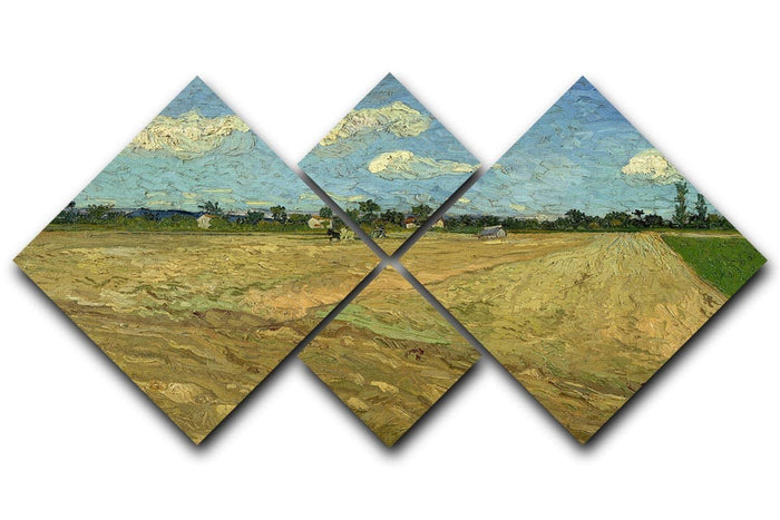 Ploughed fields by Van Gogh 4 Square Multi Panel Canvas