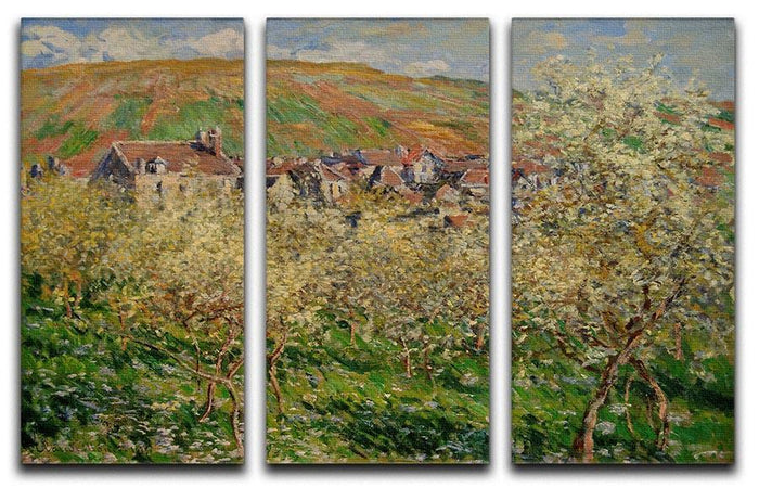 Plum trees in blossom by Monet Split Panel Canvas Print