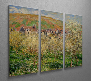 Plum trees in blossom by Monet Split Panel Canvas Print - Canvas Art Rocks - 4