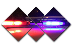 Police lights 4 Square Multi Panel Canvas  - Canvas Art Rocks - 1